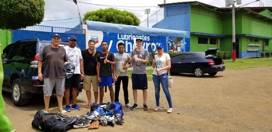 Members of the Pensacola Blue Wahoos in Nicaragua as part of Helping Kids Round First humanitarian work in 2019.