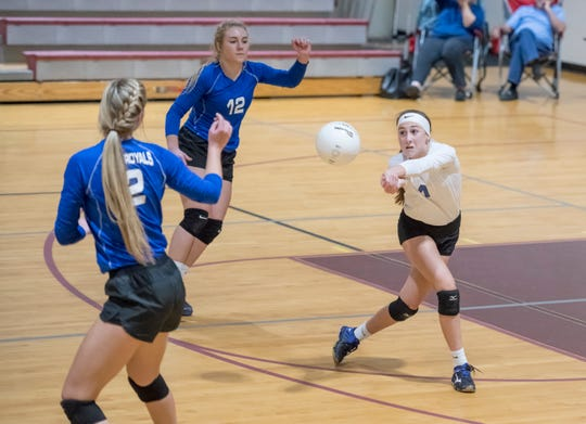 Caitlyn Gavin (1) plays the ball during the Jay vs Baker District 1-1A volleyball tournament final at Northview High School on Thursday, Oct. 17, 2019.