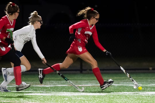 Bermudian Springs' Skyler West breaks away inside New Oxford territory during a YAIAA semifinal field hockey game in Littlestown on Thursday, October 17, 2019. The Eagles won, 3-0.
