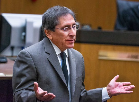 Maricopa County prosecutor Juan Martinez makes his opening argument in the case against Avtar Grewal in Maricopa County Superior Court in Phoenix on June 3, 2019.