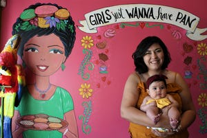 Magaly Saenz brings her daughter Lola to Tres Leches Cafe on Oct. 17, 2019.