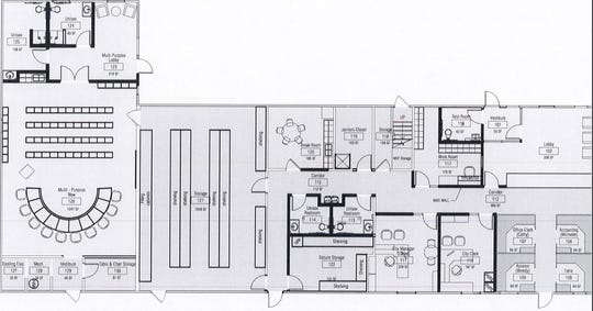 Site plan for the building at 260 S. Parker St. that's slated to become the new Marine City offices.
