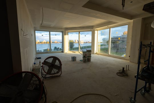 Large windows give residents of several two bedroom units on the second floor of the Bluewater View condos a view of the St. Clair River out of their living room. The same floorplan is repeated on the higher floors of the building, with the cost to own increasing each floor.