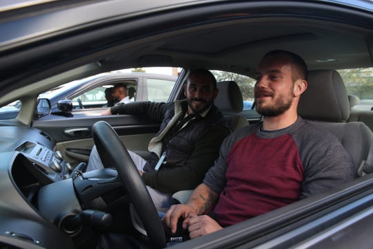 From left, Director at Dutchess County Division of Veterans' Services Marc Coviello and Mark Sheffield inside Sheffield's Honda Civic which he received through the Dutchess County Wheels to Work program on October 18, 2019. Sheffield, an Army veteran received the car through the program's expansion to help veterans who are adapting to civilian life.