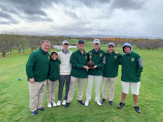 Members of the Franklin D. Roosevelt boys golf team pose alongside coach Kevin Hart (left) after winning the MHAL golf championship Thursday.