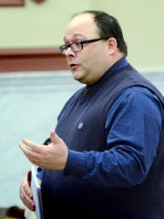 Chad Baker, chairman of the Democratic Party of York County, speaks during a election board meeting at the York County Administrative Center regarding instances of single voters casting multiple votes during last week's election Monday, Nov.13, 2017. Bill Kalina photo