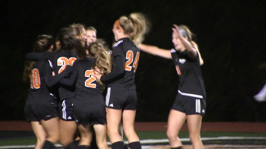 The Central York girls' soccer team celebrates its 2-1 win in double overtime over Fairfield in the YAIAA semifinals.