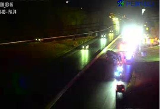 Traffic cam on 511pa.com shows emergency crews working on a two-vehicle crash on I-83 on Thursday night.