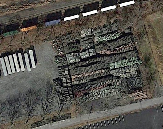 This satellite photo from Google Earth shows thousands of rolls of turf at a private business in Cleona, a small borough in Lebanon County, Pennsylvania.