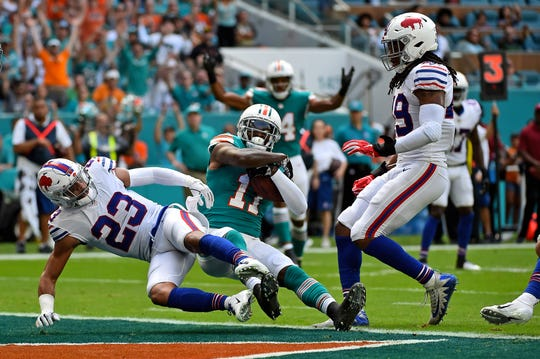 DeVante Parker scored against the Bills last season in the game played at Miami which was won by the Dolphins.