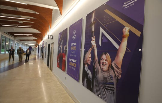 Wide hallways are one of the design features at the newly opened Golisano Training Center at Nazareth College in Pittsford. Nazareth College and Special Olympics of New York (SONY) teamed up to create the innovative and inclusive facility that will provide a training and competition center for people of all ages who have intellectual disabilities. The Genesee Region's more than 3,000 Special Olympians participate in 31 regional competitions annually.