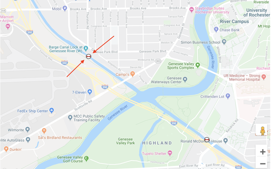 A report from a consultant for the state Canal Corporation proposed permanently sealing off the Erie Canal at the West Guard Gate in Rochester, where the red arrows are pointing, to prevent the spread of invasive species. The Genesee River would then provide a water source for the canal heading east.