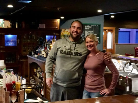 Owners Cameron Tiraterra and Heather Thompson at the Post Office Saloon & Grill in downtown Redding.