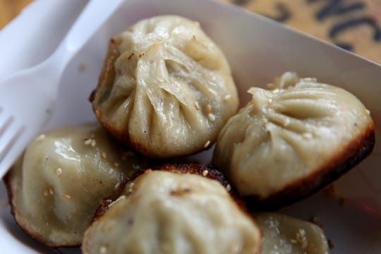 Pork and chicken pan-fried dumplings from Shanghai's Best Street Food at The Yard Food Park in Salem on Oct. 18, 2019. The owner moved the business to Salem after her previous food truck pod in Portland was sold to developers.