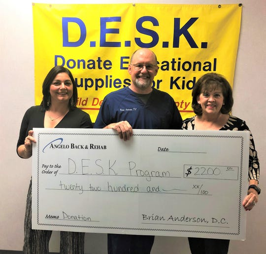 Dr. Brian Anderson and Practice Representative Angela Casavant of Angelo Back & Rehab present D.E.S.K. Vice President Vicki Loso with a check for $2,200 raised by offering their chiropractic services for an entire week to new and existing patients for a $20 donation.  D.E.S.K. (Donate Educational Supplies for Kids) provides school supplies for students in the San Angelo ISD who cannot obtain supplies through their own means.