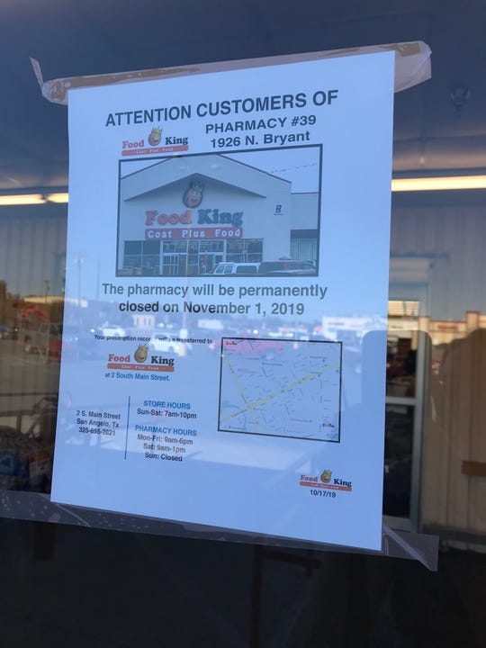 A sign on Food King, 1926 N. Bryant Blvd., stated that the pharmacy would close on Nov. 1, 2019.