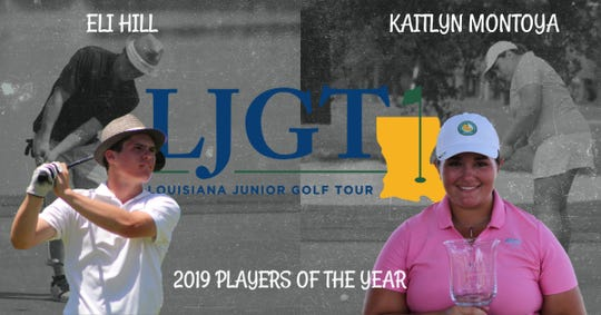 Airline's Eli Hill and Captain Shreve's Kaitlyn Montoya earned Player of the Year honors from the Louisiana Junior Golf Tour.
