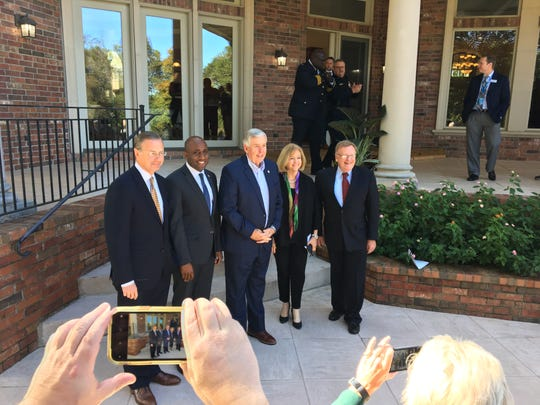 Missouri Gov. Mike Parson, center, met with Columbia Mayor Brian Treece, Kansas City Mayor Quinton Lucas, St. Louis Mayor Lyda Krewson and Springfield Mayor Ken McClure on Friday, Oct. 18, 2019 at Davis House near Springfield, Mo., to discuss violent crime and other public safety issues affecting the Show-Me State.