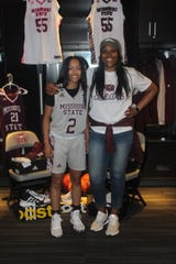 Missouri State Lady Bears recruit Taylor Woodhouse with head coach Amaka Agugua-Hamilton on a visit.
