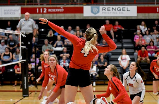 Sophomore Linsey Rachel goes up for a spike against Upper Iowa Friday, Sept. 21, 2019, at Halenbeck Hall.