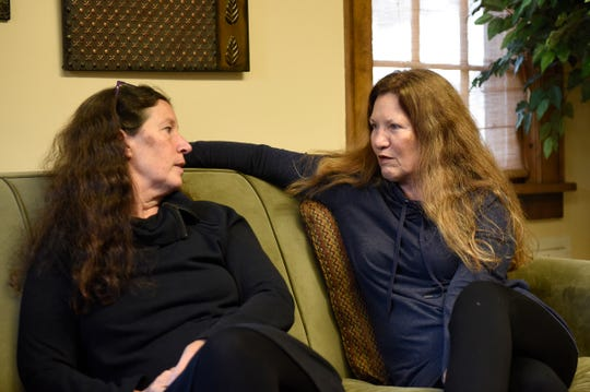 Lee LaDue, assistant director of the SCSU women's center, and Peggy LaDue, executive director at the Central Minnesota Sexual Assault Center, speak during an interview Tuesday, Oct. 15, 2019, at the SCSU women's center.