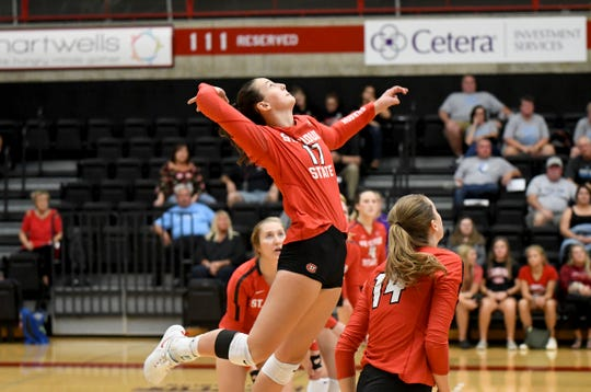 Sophomore Rachel Houle goes up for a spike against Upper Iowa Friday, Sept. 21, 2019, at Halenbeck Hall.