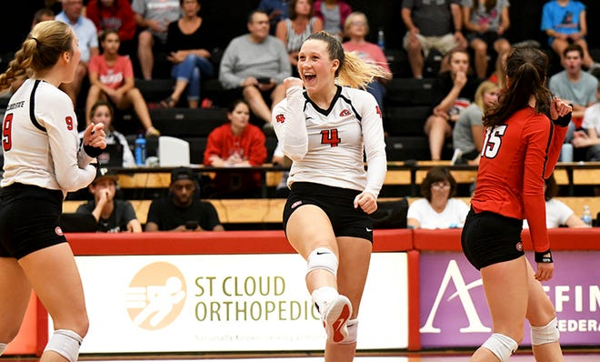 Sophomore Linsey Rachel celebrates a point against Winona State Friday, Sept. 20, 2019, at Halenbeck Hall.