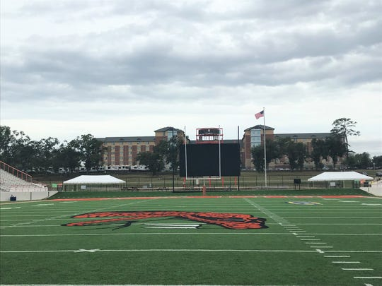 The north end zone seating area at Bragg Memorial Stadium was cleared on Friday, Oct. 18, in preparation for Tropical Storm Nestor. All items will be returned Sunday morning. Kickoff between FAMU and North Carolina A&T is set for 2 p.m.