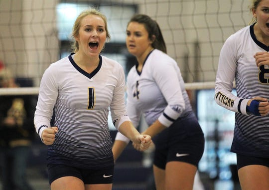 Aucilla Christian's volleyball team fell 3-2 to Rocky Bayou during the District 1-2A championship game Thursday, Oct. 17, 2019 at St. John Paul II.