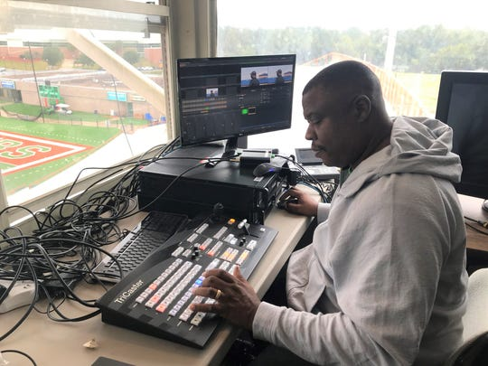 Vaughn Wilson works on the computer prepping for the ESPN3 live stream between FAMU and North Carolina A&T. The game takes place Sunday, Oct. 20, 2019 at Bragg Memorial Stadium.