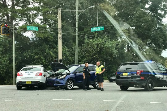 A TPD cruiser and an SUV crashed this afternoon at Capital Circle Northeast and Eastgate Way.