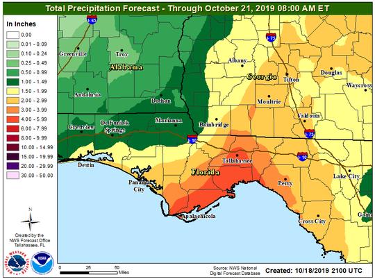 A Tropical Storm Nestor precipitation forecast for the Big Bend