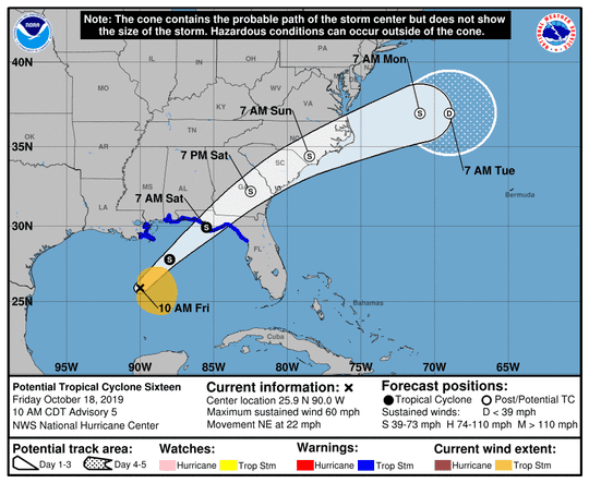The 11 a.m. Friday forecast track for Potential Tropical Cyclone 16.