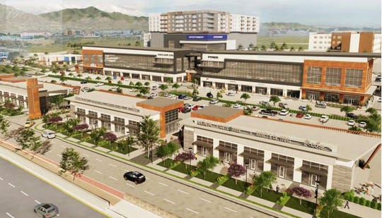 This is a rendering of The Gateway lifestyle center planned for 20 acres along Interstate 10 and near Airway Boulevard in East Central El Paso.