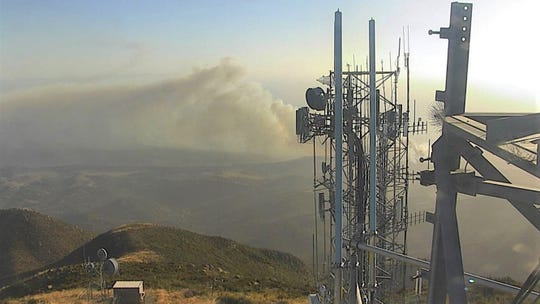 Smoke from the wind-driven Real Fire north of Goleta was visible earlier this week in a photo from a tower camera.
