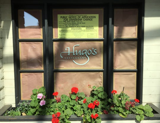 The former Hugo's Restaurant site at Whizin Market Square in Agoura Hills is getting a new tenant, as indicated by the public notice of application for ownership change in the window.