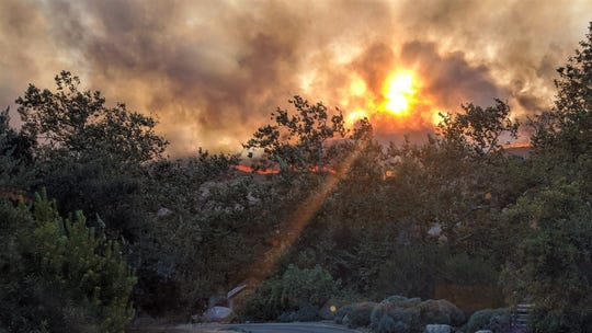 This vegetation fire in the El Capitan Canyon area of Santa Barbara County closed Highway 101 in both directions Thursday evening.