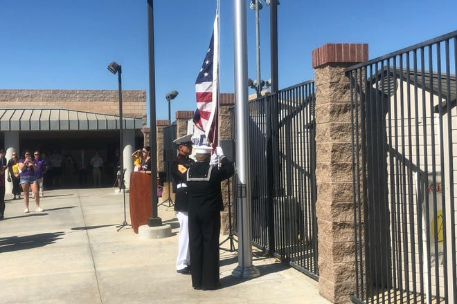Cal Lutheran University dedicated a flagpole to memorialize Borderline shooting victim and former CLU water polo player Justin Meek at Samuelson Aquatics Center on Oct. 12.