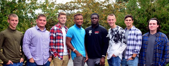 Delsea Regional High School announced the following students are candidates for Homecoming King: (from left) Drew Gant, Chuck Starr, Coulter Afflerbach, Shaikyi Hannah, Jake Nwosu, Travis Griffith, Justin Reber and Alex Murcavage.