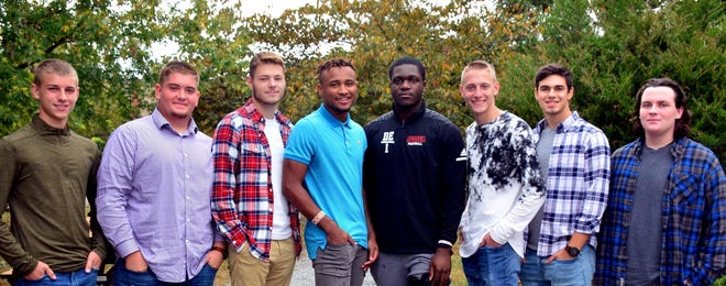 Delsea Regional High School announced the following students are candidates for Homecoming King:(from left) Drew Gant, Chuck Starr, Coulter Afflerbach, Shaikyi Hannah, Jake Nwosu, Travis Griffith, Justin Reber and Alex Murcavage.