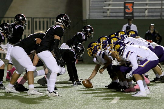 The Wichita Falls High defense lines up against Abilene Wylie Thursday, Oct. 17, 2019, at Memorial Stadium. The Bulldogs defeated the Coyotes 21-14 for their first win of the season.
