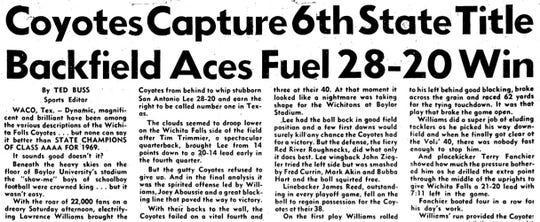 Former Wichita Falls Times Sports Editor Ted Buss wrote this story about the Wichita Falls High Coyotes Class 4A state championship that appeared in the Dec. 21, 1969 edition.