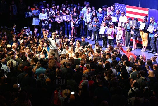 Presidential candidate Beto O'Rourke speaks Thursday evening in Grand Prairie, Texas at his Rally Against Fear, a counter rally to Donald Trump's event in Dallas.