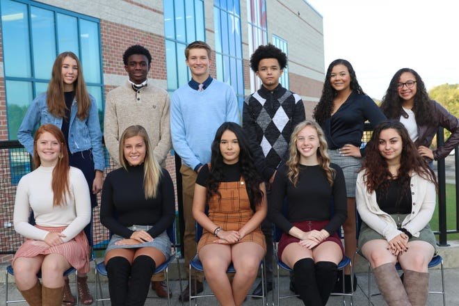 The members of the ZHS 2019 homecoming court include, first row,  junior attendant Kierstyn Allen, queen candidate Melena Moore, queen candidate Nia Pritchett, queen candidate Hannah Hoskinson, junior attendant Maya Gillogly, second row, sophomore attendant Jillian Wiersma, king candidate Jamal Wiggins, king candidate Logan Young, king candidate Tredelle Franklin, sophomore attendant Jaelyn Peterson, and freshman attendant Amana Kimbrough.