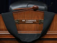WASHINGTON, DC - OCTOBER 17: Black bunting is hung over the desk where House Oversight and Government Reform Committee Chairman Elijah Cummings (D-MD) sat during hearings in the Rayburn House Office Building on Capitol Hill October 17, 2019 in Washington, DC. Representing Maryland's 7th Congressional District since 1996, Cummings passed away early Thursday at the age of 68. (Photo by Chip Somodevilla/Getty Images) *** BESTPIX *** ORG XMIT: 775422961 ORIG FILE ID: 1181676460