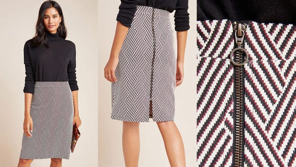 Make your workday all the more stylish with this geometric pencil skirt.