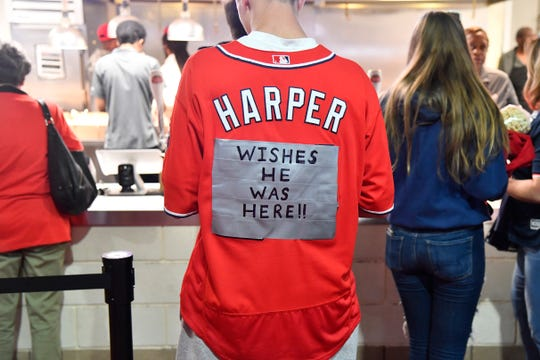 A modified Bryce Harper jersey before game three of the 2019 NLCS playoff baseball series between the St. Louis Cardinals and the Washington Nationals at Nationals Park.
