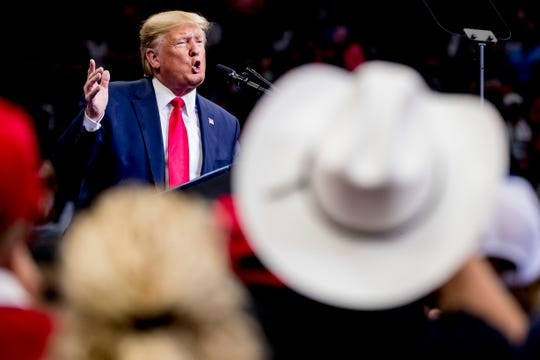 President Donald Trump speaks at a campaign rally at American Airlines Arena in Dallas, Texas, Thursday, Oct. 17, 2019.