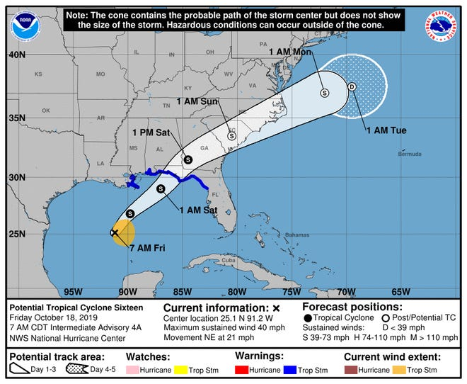 Potential Tropical Cyclone 16 is forecast to intensify on Friday before making landfall over the Florida Panhandle Friday night into Saturday.