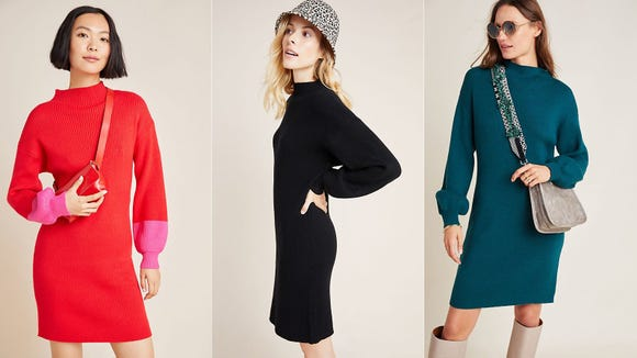 Cozy up this winter with a chunky knit sweater dress.